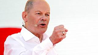 Social Democratic Chancellor candidate Olaf Scholz gestures as he speaks during an event to kick off his campaign, in Bochum, Germany