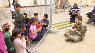 Une base américaine en Allemagne a été transformée en centre d'accueil pour les Aghans.