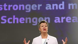 European Commissioner for Home Affairs Ylva Johansson speaks during a media conference at EU headquarters in Brussels, Wednesday, June 2, 2021.