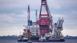 The German-Russian Nord Stream 2 gas pipeline is near completion in the Baltic Sea.