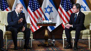 آنتونی بلینکن، وزیر خارجه آمریکا و نفتالی بنت، نخست وزیر اسرائیل