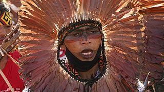 Manifestation d'indigènes pour la défense de leurs droits et leurs terres - Brasilia (Brésil), le 25/08/2021