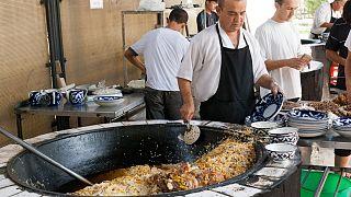 Public plov cooking in Tashkent, Uzbekistan