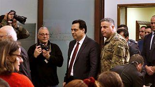 رئيس الوزراء اللبناني حسان دياب يصل إلى مؤتمر صحفي بعد إعلان حكومته، في القصر الرئاسي في بعبدا، شرق بيروت، لبنان الثلاثاء 21 كانون الثاني 2020