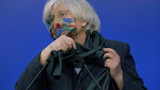 Former Catalan education minister Clara Ponsati at a February media conference at the European Parliament in Brussels