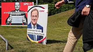 Election posters at a street in Duesseldorf, Aug. 25, 2021