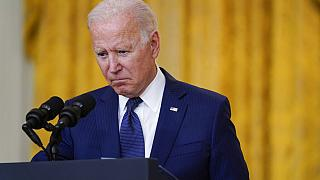 President Joe Biden speaks about Thursday's bombings at Kabul airport from the White House, Aug. 26, 2021, in Washington.