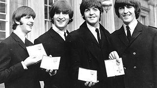 Photo d'archives : les Beatles (de gauche à droite : Ringo Starr, John Lennon, Paul McCartney et George Harrison) à Londres, le 26/10/1965