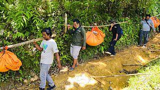 دعاة حماية البيئة يحملون جثث ثلاثة نمور سومطرة عثر عليها ميتة في قرية إي بوبوه في جنوب آتشيه بإندونيسيا،  26 آب /  أغسطس، 2021