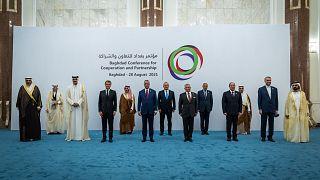 """Irak'ta düzenlenen """"Bağdat İş Birliği ve Ortaklık Konferansı"""" toplantıları, başkent Bağdat'taki Hükümet Sarayı'nda başladı"""