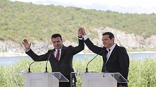 Greek Prime Minister Alexis Tsipras, right and his Macedonian counterpart Zoran Zaev