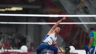Ο αθλητής Αθανάσιος Κωνσταντινίδης αγωνίζεται στον ακοντισμό ανδρών F31, κατά τη διάρκεια των Παραολυμπιακών Αγώνων στο Τόκιο 2020