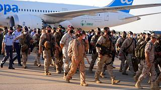 Spanish soldiers who were transported from Afghanistan via Dubai