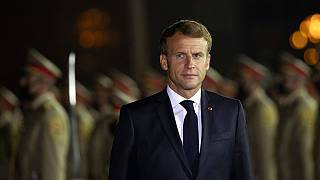 French President Emmanuel Macron arrives at Irbil international airport, Iraq, early Sunday, Aug. 29, 2021.