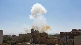 غارات جوية على قاعدة عسكرية في صنعاء/ اليمن، الأحد 7 مارس 2021.