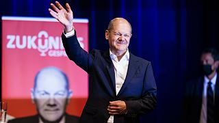 Olaf Scholz, az SPD kancellárjelöltje, pénzügyminiszter egy berlini kampányrendezvényén