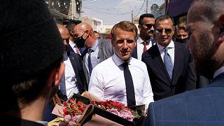 الرئيس الفرنسي إيمانويل ماكرون في الموصل العراقية