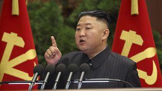 North Korean leader Kim Jong Un speaks during a Politburo meeting of the ruling Workers' Party in Pyongyang, North Korea, June 29, 2021.