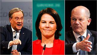 En la carrera para sustituir a Angela Merkel (de izquierda a derecha): Armin Laschet, Annalena Baerbock y Olaf Scholz