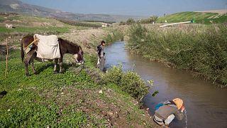 إسرائيليون يتجولون على طول نهر الأردن بالقرب من قرية مناحمية الإسرائيلية، الثلاثاء 17 يناير 2017