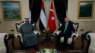 محمد بن زايد آل نهيان ورجب طيب أردوغان، أنقرة، تركيا، الثلاثاء 28 فبراير 2012