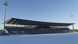 A thin layer of snow covers the Icelandic national football stadium, the Laugardalsvollur, in Reykjavik on Monday, Nov. 27, 2017.