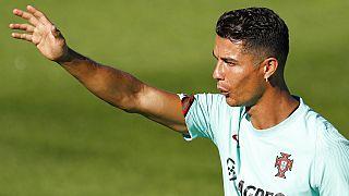 كريستيانو رونالدو خلال  تدريب في أويراس، البرتغال، الاثنين، 30 آب /  أغسطس، 2021
