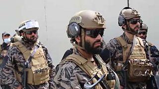 A tálib különleges erők tagjai a kabuli repülőtéren