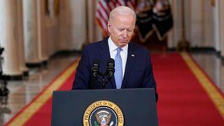 Joe Biden prononce un discours alors que les derniers soldats américains ont quitté l'Afghanistan, le 31 août 2021