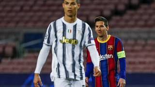 Barcelona's Lionel Messi, right, and Juventus' Cristiano Ronaldo during the Champions League match in Barcelona, Spain, Dec. 8, 2020.