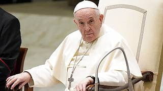 Pope Francis attends his weekly general audience, held in the Paul VI hall, at the Vatican, Wednesday, Sept. 1, 2021.