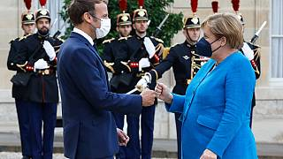 Angela Merkel lors de sa dernière visite officielle à l'Élysée (Paris, France), le 16 septembre 2021