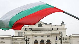 Bulgaria's national flag is seen in front of the parliament building in Sofia.