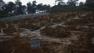 صورة أرشيفية لقبور في مقبرة تركية، أعدّت حديثاً وخصصتها السلطات لدفن ضحايا فيروس كورونا في منطقة بيكوز بإسطنبول