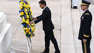 Ukrainian President Volodymyr Zelenskyy places a wreath at the Tomb of the Unknown Soldier during a ceremony at Arlington National Cemetery in Arlington.