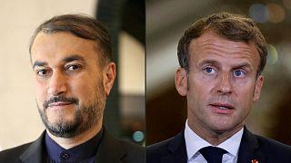 امانوئل ماکرون، رئیس جمهوری فرانسه و حسین امیرعبداللهیان، وزیر امور خارجه ایران