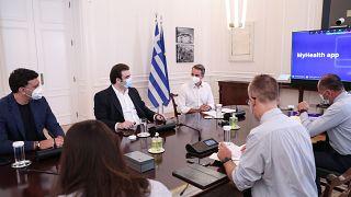 Παρουσίαση, μέσω τηλεδιάσκεψης, της εφαρμογής MyHealth, στο Μέγαρο Μαξίμου, Αθήνα, Τρίτη 03 Αυγούστου 2021.