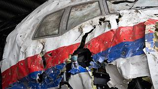The reconstructed wreckage of Malaysia Airlines Flight MH17 at the Gilze-Rijen military airbase in the Netherlands.