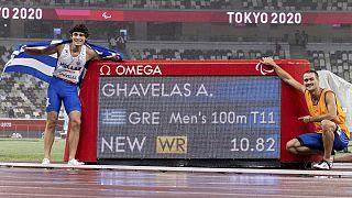 Athanasios Ghavelas of Greece and his guide Sotirios Gkaragkanis celebrate their world record