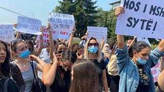 Anti-femicide protests in Ferizaj on Aug 24 2021