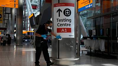 Sign for testing centre in airport terminal