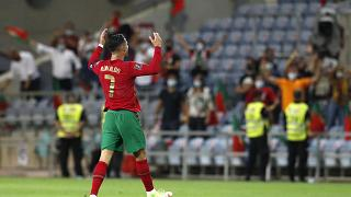 Cristiano Ronaldo celebrates after scoring his first goal during Wednesday's match.
