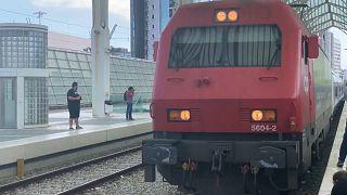 El tren del programa europeo Connecting Europe Express llegando a Lisboa, este jueves 2 de septiembre de 2021.