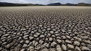Kiszáradt tómeder a kolumbiai Suesca-ban 2021-ben