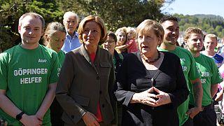 Angela Merkel und Malu Dreyer bei ihrem Besuch im hochwassergeschädigten Altenahr am 3. September 2021.