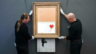Banksy painting, Love is in the Bin