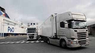 Lorries heading to Britain in the first ferry after Brexit, arrive Friday Jan.1, 2021