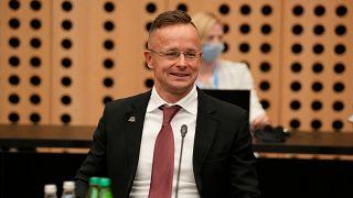 Szijjártó Péter külgazdasági és külügyminiszter az Európai Unió külügyminisztereinek nem hivatalos találkozóján a szlovéniai Brdo pri Kranjuban 2021. szeptember 2-án.