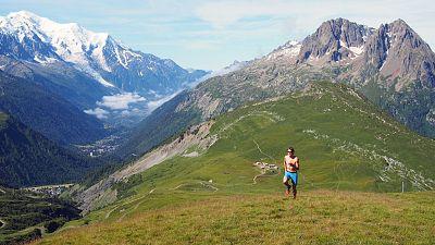Man trail running in Chamonix