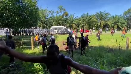Mexico's National Guard detain Haitian migrants as they walked through the southern state of Chiapas